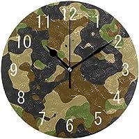 Use7 Home Decor Camouflage Militär Retro Runde Acryl Wanduhr Nicht Tickend  Leise Uhr Kunst Für Wohnzimmer