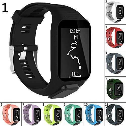 Peedeu Uhrenarmbänder für Tomtom, Uhrenarmband Silikon Ersatz Uhrenarmbänder Straps Sport Armband für Tomtom Runner 2/Runner 3/Spark 3/Abenteurer/Golfer 2 Sport GPS-Lauf