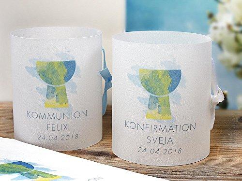 Set 8 x personalisierte Lichthülle für Tischlicht Kelch Aquarell zur Kommunion, Konfirmation, Taufe, Firmung
