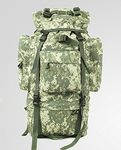 Outdoor Rucksack große Kapazität camouflage Bergsteigen Taschen Rucksack, schwarz, 100L mit Wasserdichte Haube (E) 65 L ohne wasserdichte Haube