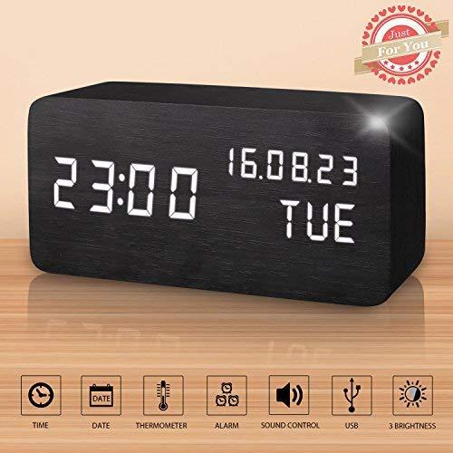 Sveglia Digitale Legno LED Elettrica da Comodino Tavolo Sensore del Suono per l'attivazione con Temperatura Orologio Sveglie Digitali Wooden Alarm Clock Clocks per Bambini (Nero)
