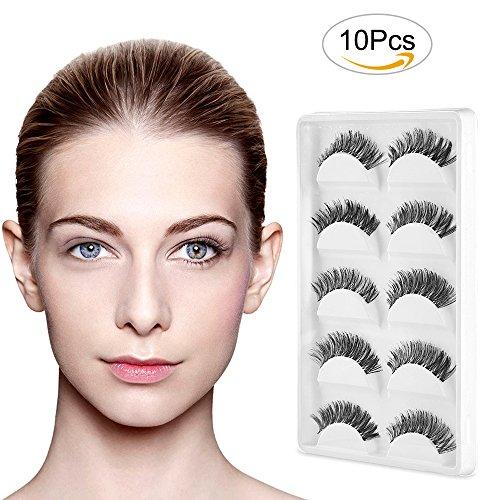 Himaly 5 Paires Faux cils 3d individuels volumineux Extension Naturel Noir Maquillage Cosmétique pour Femme Fille