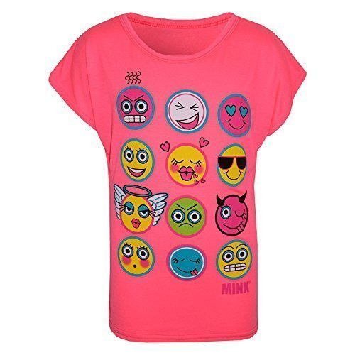 Kids Girls T Shirt Emoji Emotions Print Stylish Trendy Fashion Top Age 7 8 9 10 11 12 13 Years
