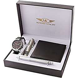 Montre Concept CCP-A765 Gift Ideas – Men's Watch with Multifunction Knife, Wallet and Pen Gift Set, Black