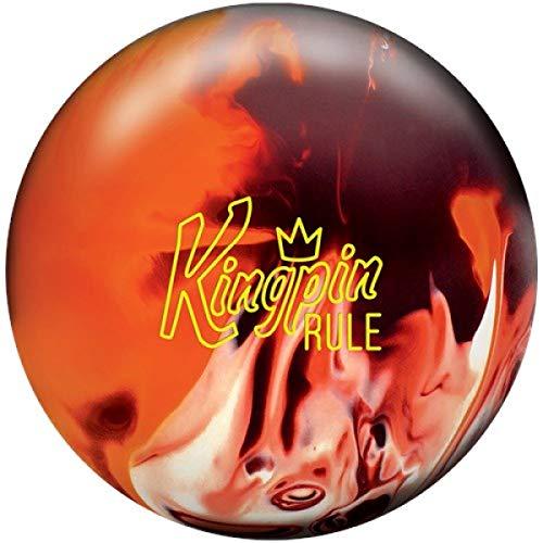 Brunswick Kingpin Rule, Kastanienbraun/Orange/Weiß, Solid Oberfläche, Reaktiv Bowlingkugel für Einsteiger und Turnierspieler - inklusive 100ml EMAX Ball-Reiniger Größe 13 LBS
