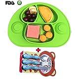Kids Tischset & Saugplatte mit Divisionen und Löffel. Kein Durcheinander, Kleinkind und Baby, Happy Face Essensset, am besten für Hochstuhl + eine Reihe von Geschirr(Grün)