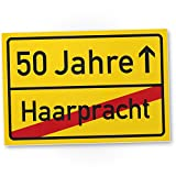 DankeDir! 50 Jahre (Haarpracht) Kunststoff Schild - Geschenk 50. Geburtstag, Geschenkidee Geburtstagsgeschenk Fünzigsten, Geburtstagsdeko/Partydeko / Party Zubehör/Geburtstagskarte