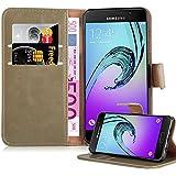 Cadorabo – Luxury Etui Housse pour Samsung Galaxy A3 (6) - (Modèle 2016) Portefeuille (stand horizontale et fentes pour cartes) – Coque Case Cover Bumper Portefeuille en MARRONE CAPPUCINO