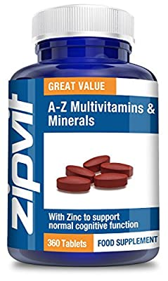 A-Z Multivitamins & Minerals, Pack of 360 Tablets, by Zipvit Vitamins Minerals & Supplements by Zipvit