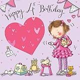 twizler 4. Geburtstag Karte für Mädchen mit vet & Tiere–Vier Jahre alt–Alter 4–Kinder Geburtstag–Mädchen Geburtstag Karte–Happy Birthday Karte