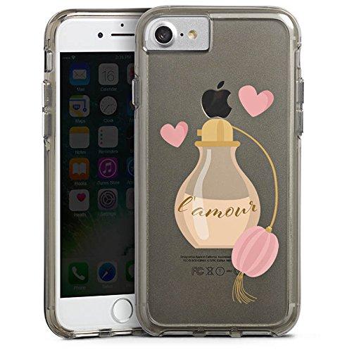 Apple iPhone 7 Bumper Hülle Bumper Case Glitzer Hülle Parfuem Parfum L'Amour Bumper Case transparent grau