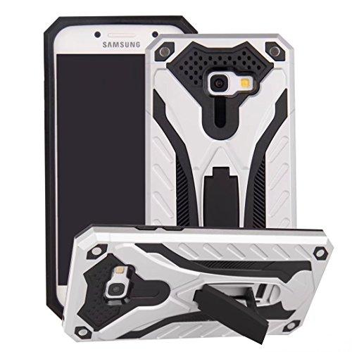 EKINHUI Case Cover Neue Hybrid-Rüstungsschutz-Rückseiten-Abdeckung Shockproof Doppelschicht PC + TPU rückseitige Abdeckung mit Kickstand für Samsung-Galaxie A5 2017 ( Color : Gold ) Silver
