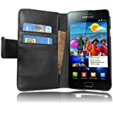 Cadorabo - Funda Samsung Galaxy S2 (I9100) Book Style de Cuero Sintético Liso en Diseño Libro - Etui Case Cover Carcasa Caja Protección con Tarjetero en NEGRO-DE-CAVIAR