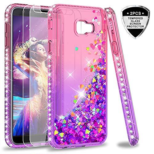 LeYi Hülle Galaxy J4 Plus Glitzer Handyhülle mit Panzerglas Schutzfolie(2 Stück),Cover Diamond Bumper Schutzhülle für Case Samsung J4 Plus / J4+ 2018 Handy Hüllen ZX Gradient Pink Purple