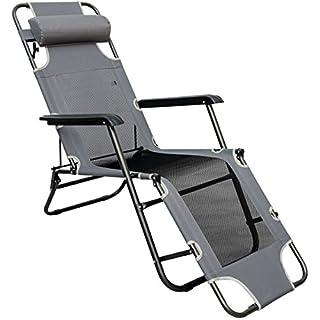 AMANKA Faltbare Campingliege Freizeitliege Verstellbare Gartenliege Liegestuhl mit Nackenstütze Klappliege Grau Stahlrahmen Belastbarkeit max. 120KG 178cm
