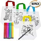 The Twiddlers 10 DIY Graffiti Mitgebsel Tasche - mit 10 kostenloser Stoffstifte -Einkaufstaschen Geschenktaschen zum Ausmalen für Kinder - Kindergeburtstag gastgeschenke - Kinder Party Bag basteln