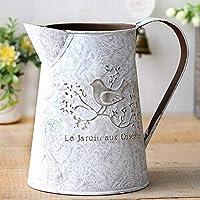 HyFanStr Shabby Chic Metal Pitcher Flower Vase Primitive Jug Bird Decorative