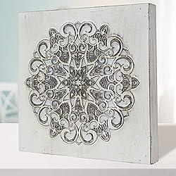 Cuadro Mandala de Pared Calada, Fabricada artesanalmente en España- Mandala 3D- Pintada a Mano- Modelo Mosaico 224 (Blanco Envejecido, 30x30)
