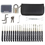 FIXKIT 28-Piece Pro Lock Pick Set, Practice Lock Set,with Transparent Padlock,Lock Picking Tools and Extractor Tool for Beginner and Pro Locksmiths