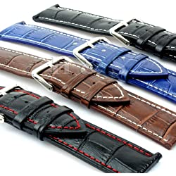H&S® Mens PU Leather Watch Strap Band + Tool Spring Bar Pins 18mm 20mm 22mm 24mm