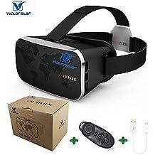"""Victorstar @ 3D VR Realidad Virtual Auriculares + Controlador Remoto Bluetooth, VR Caja para panorámico 3D para Juegos / Películas / Vídeos Ver Gafas VR-Park Con V3 Ajustable Lente Claro HD Actuación Soporte para 4.0 """"-6.0"""" pulgadas Smartphone"""