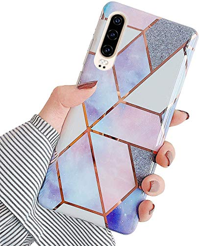 Herbests Kompatibel mit Huawei P30 Hülle Handyhülle Weich TPU Silikon Schutzhülle Marmor Muster Glänzend Glitzer Bling Ultra Dünn Soft Handytasche Bumper Case Etui,Lila Rosa