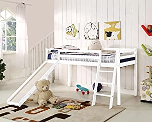 KOSY KOALA Wood cabin bunk bed mid sleeper with under bed tent and slide for kids children bedroom furniture