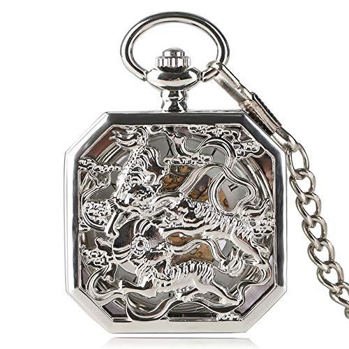 HANXIAO Relojes de Bolsillo Fahsion Silver Tiger Colgante...