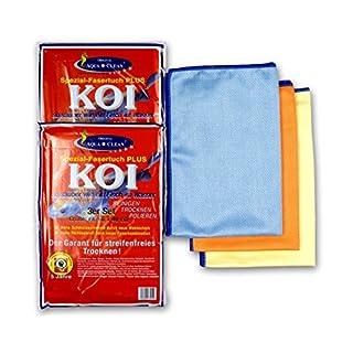 Aqua Clean KOI-Tuch - Microfaser Reinigungstuch Poliertuch Glasreiniger, 60x40cm, 6-teilig (2x 3er-Set)