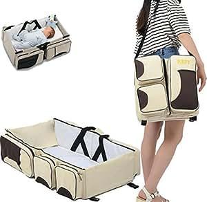 2 in 1 Multifunktion Tragbar Faltendes Baby-Reisebett Krippe Wickeltasche (Beige)