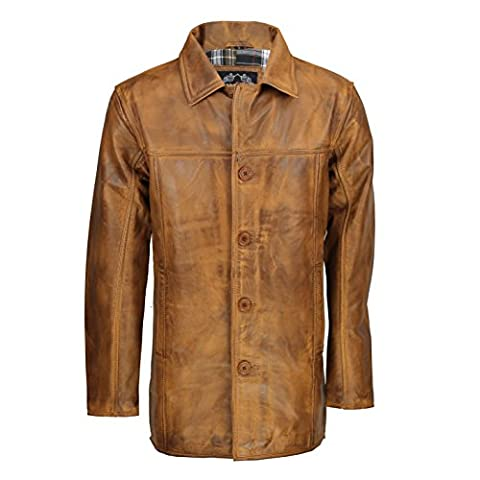 Mens Real Genuine Leather Tan Brown Vintage 4 Button Classic
