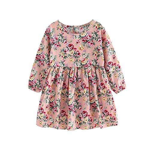 Amlaiworld Sommer Baby Gemütlich Hirtenstil Langarmshirt Kleid Mädchen locker Bunte Blumen Druck Kleid niedlich Sport Kleinkind blusen Baumwolle süße Dress, 2-10 Jahren alt (8 Jahren, Rosa) -