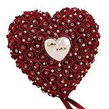 Sanwood - Romantische Herzform weiß rose Kissen Hochzeit Hochzeit Ring Box Ring Kissen mit Elegantes Blumenmuster Kissen Satin Ring Hochzeit Verlobungsring Container Fall, weinrot, 22cm x 20cm
