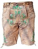 Kurze Herren Trachten-Lederhose mit Stickerei, Used-Look Farbe Grau-Braun Antik, Trachtenhose Oktoberfest, Größe 52
