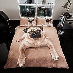 Lujo Edredón Impreso Funda Nórdica de Juego de ropa de cama con funda de almohada, 50% algodón/50% poliéster, 3D PUG DOG, matrimonio