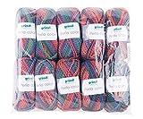 Gründl Perla Color, Vorteilspackung 10 Knäuel à 100 g Handstrickgarn, 100% Polyester, Jeans-Fuchsia-Mix, 39 x 20 x 8 cm