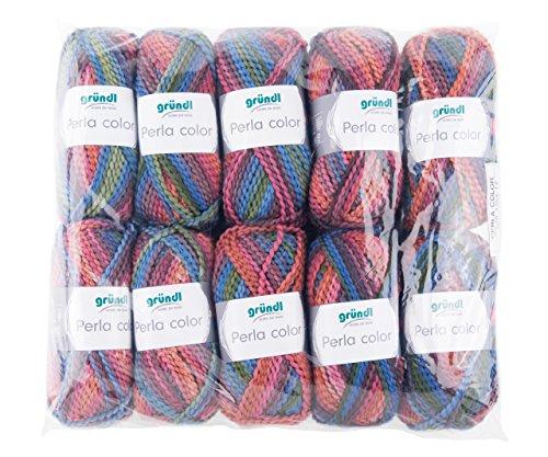 Gründl Perla Color, Vorteilspackung 10 Knäuel à 100 g Handstrickgarn, Polyester, Jeans-Fuchsia-Mix, 39 x 20 x 8 cm -
