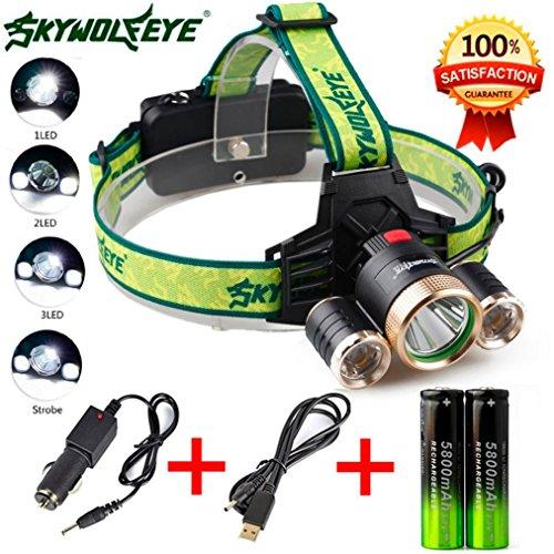 Preisvergleich Produktbild Taschenlampe, BBring 4Modes 9000Lm 3X XML T6 + 2R5 LED Scheinwerfer-Kopf-helle Fackel USB-18650 + Auto-Aufladeeinheit
