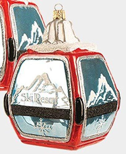 Pinnacle Red Ski Resort Gondola Polish Glass Christmas Tree Ornament Skiing Decoration -