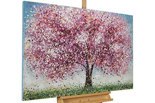 KunstLoft® Acryl Gemälde 'Rooted Spirit' 120x80cm | original handgemalte Leinwand Bilder XXL | Modern Baum Blüten Blau Rosa | Wandbild Acrylbild Moderne Kunst einteilig mit Rahmen -