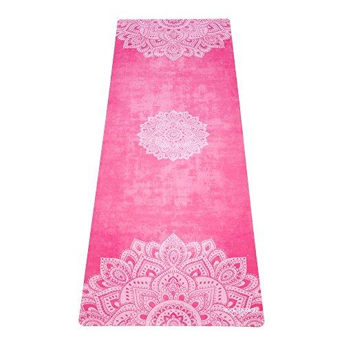 Die Combo Yoga Matte 1mm. REISE VERSION. Extrem leicht, faltbar und rutschfest. Designed beim Schwitzen besser zu Greifen. Umweltfreundlich. Einfach Falten und Los! (Mandala Rose) Teppiche Mat