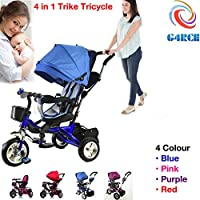 G4RCE® 4 in 1 Kids My First Trike Boys Girls Ride On Bike Parent Handle Push Along 3 Wheeler Tricycle UK