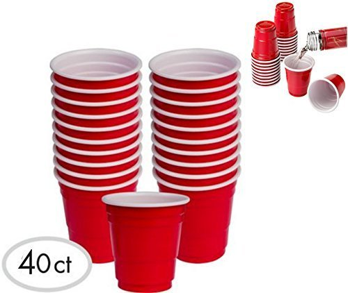 Romote 40pc roter Pappbecher Mini-Party-Schnapsgläser Set (2-Ounce) Fun Grill-Picknick Ferien Tailgate Super Bowl-Party