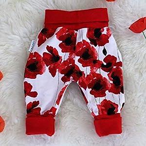 Baby Pumphose Schlupfhose newborn Gr. 56-68 Blumen Mohnblumen