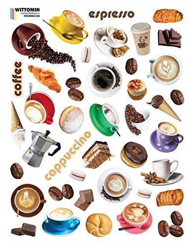 Wittomin Vinyl Aufkleber Transparent Sticker Klein Coffee Kaffee Espresso Cappuccino Macaroons Dessert Gebäck Eis Cafe Küche