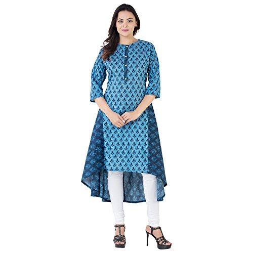 Khushal Women's Cotton Printed Up & Down Hemline Knee Length Blue Kurtas...