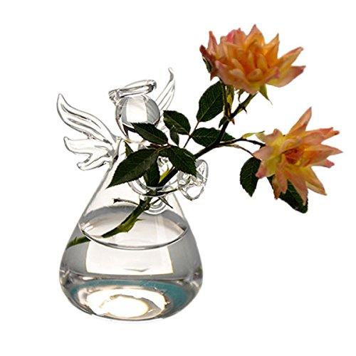 Rosepoem Hydroponic Glass Vase,Angel Girl Glass Hanging Flower Vase Handmade Hydroponic Flower Bottle Plant Pot for Office Decoration