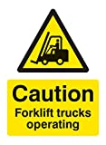 Caledonia Signs 14215K Caution Forklift Truck Operating Sign, 400 mm x 300 mm, Rigid Plastic