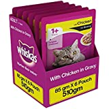 Whiskas Chicken in Gravy, Wet Gravy food for Adult Cats,  85 g pouch (Pack of 6)