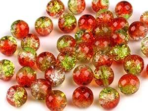 Crackled Multicolor-Glasperlen 10mm, rot-grün, 10 g